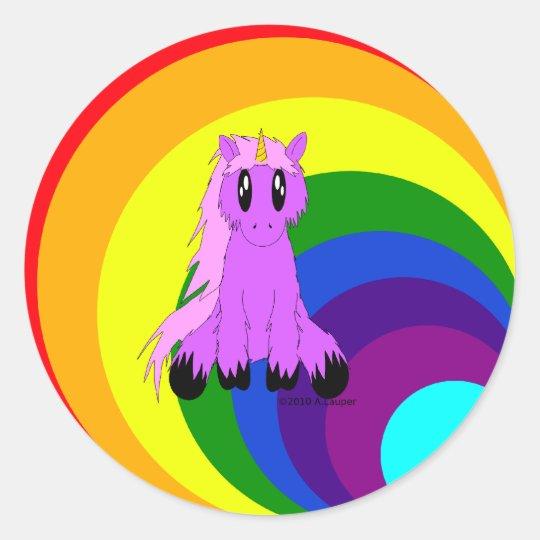 Cute Scruffy Unicorn (Pink) Round Sticker