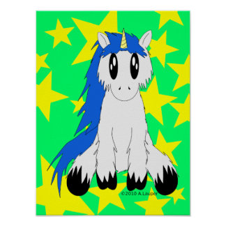 Cute Scruffy Unicorn Poster Blue
