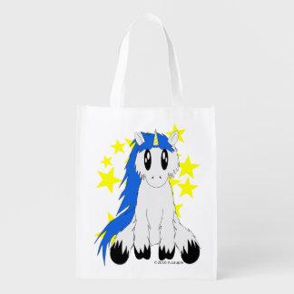 Cute Scruffy Unicorn Reusable Bag (Blue)