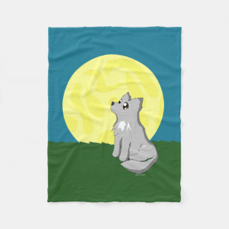 Cute Scruffy Wolf with Moon Blanket