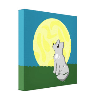 Cute Scruffy Wolf with Moon Canvas Print
