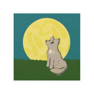 Cute Scruffy Wolf with Moon Wood Prints