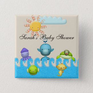 Cute Sea Animals Baby Shower 15 Cm Square Badge