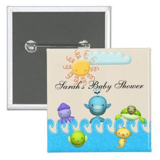 Cute Sea Animals Baby Shower 15 Cm Square Badge