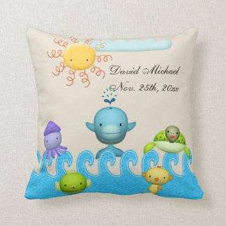 Cute Sea Animals Baby Shower Cushion