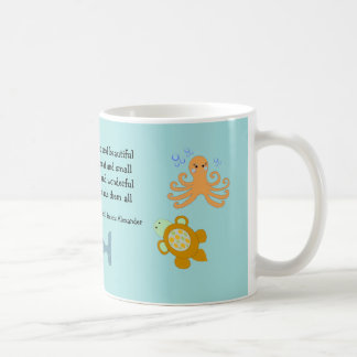 Cute Sea Creatures with Inspirational Quote Basic White Mug