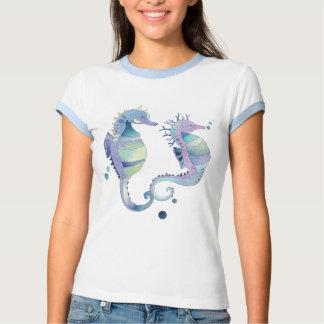 Cute Sea Horses: Ladies Ringer T-Shirt