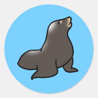Cute sea lion classic round sticker
