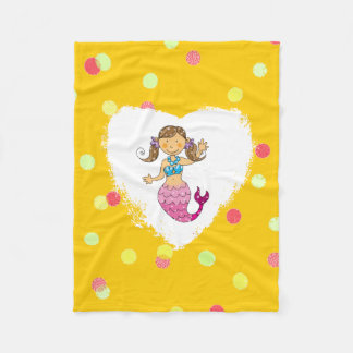 cute sea mermaid princess (brown hair) fleece blanket