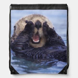Cute Sea Otter | Alaska, USA Drawstring Bag