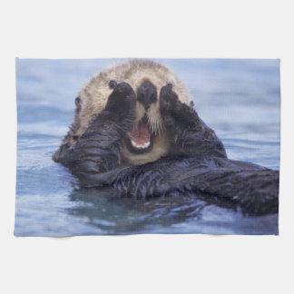 Cute Sea Otter | Alaska, USA Tea Towel