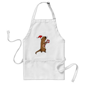 Cute Sea Otter in Santa Hat Christmas Cartoon Standard Apron