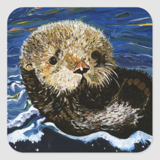 Cute Sea Otter Square Sticker