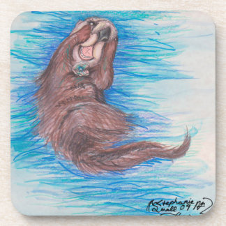 Cute sea otter swimming adorable lovely coaster