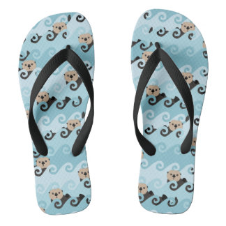 Cute Sea Otters Riding the Waves Flip Flops