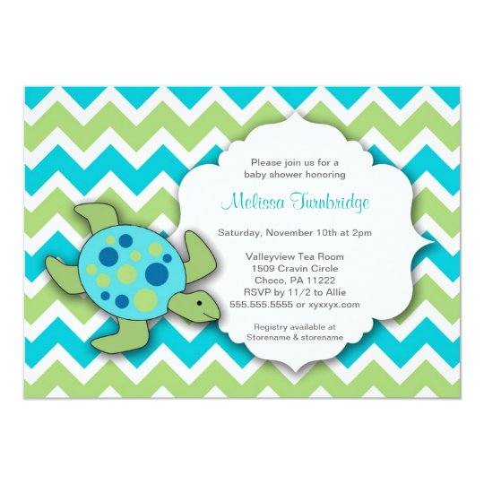 Cute Sea Turtle Baby Shower Invites neutral gender