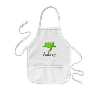 Cute sea turtle personalized with childs name kids apron