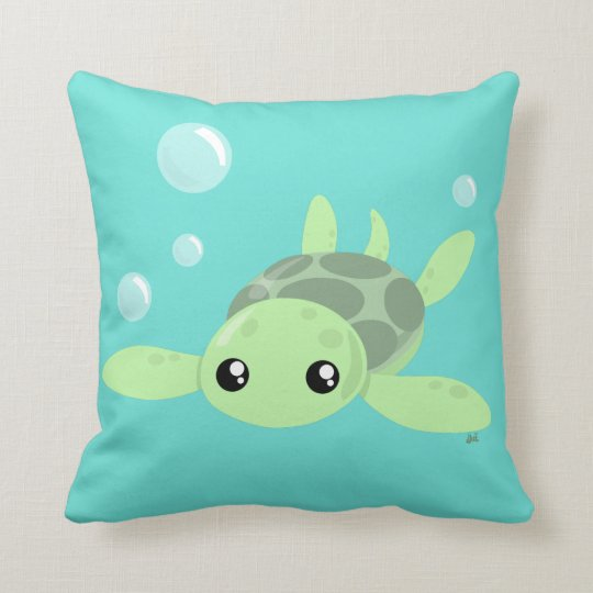 Cute Sea Turtle Throw Pillow