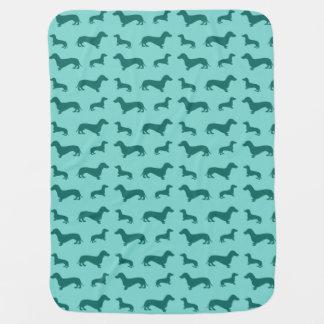 Cute seafoam green dachshunds baby blankets
