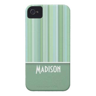 Cute Seafoam, Sage Green, & Baby Blue Striped iPhone 4 Case-Mate Cases