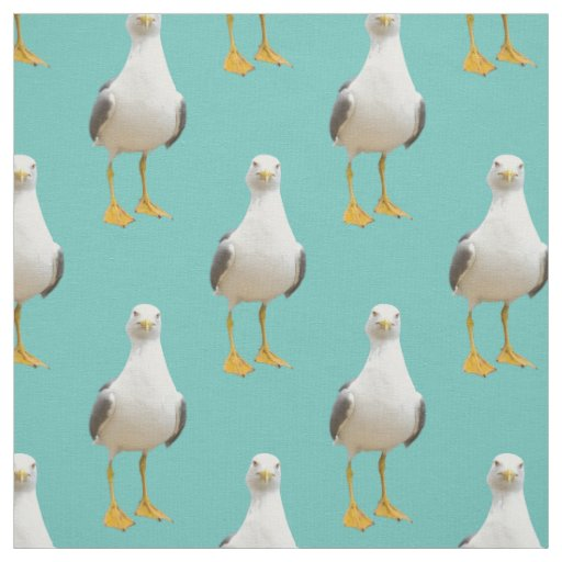 Cute Seagull on a Light Teal Background Fabric