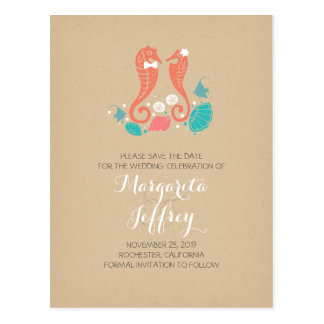 Cute seahorse couple beach save the date postcards