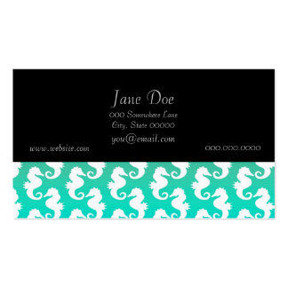 Cute Seahorse Pattern on Blue Green Business Card Template