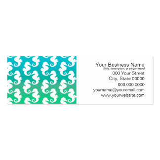 Cute Seahorse Pattern on Blue Green Pack Of Skinny Business Cards