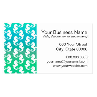 Cute Seahorse Pattern on Blue Green Pack Of Standard Business Cards