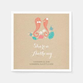 Cute Seahorses Beach Wedding Paper Napkins Disposable Napkin