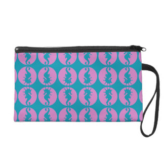 Cute Seahorses in Pink and Teal Wristlet Clutches