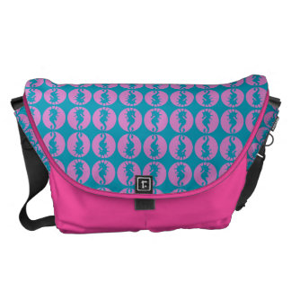 Cute Seahorses in Pink and Teal Messenger Bags