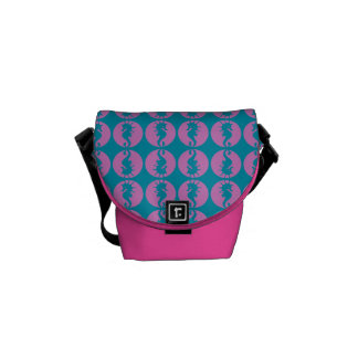 Cute Seahorses in Pink and Teal Courier Bag