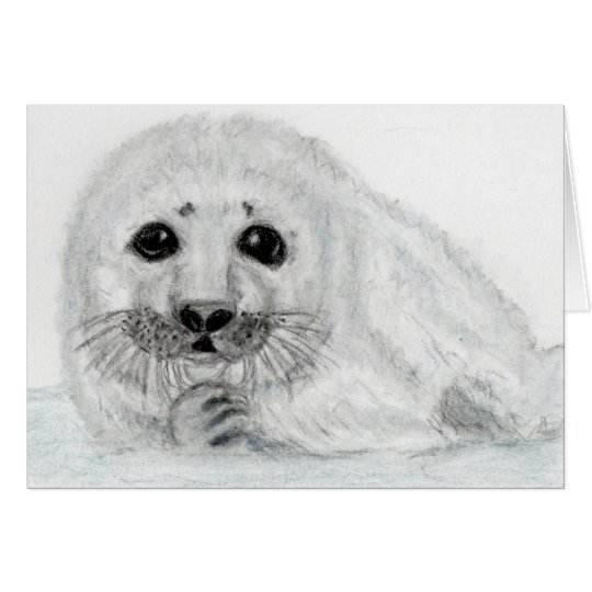 CUTE SEAL PUP BABY ART GREETINGS CARD PERSONALISE