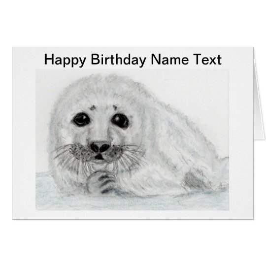 Cute Seal pup baby Birthday Card Personalise