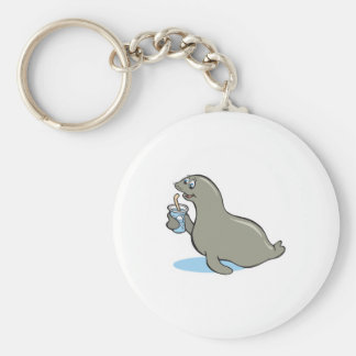 cute seal with drink key ring