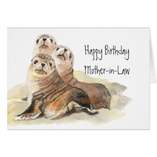 Cute Seals Mother-in- Birthday  Watercolor Animals Greeting Card