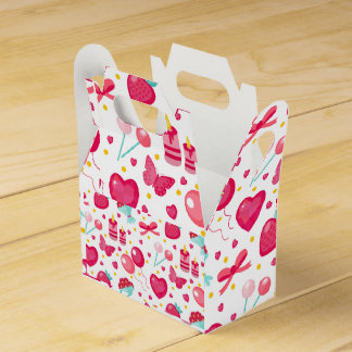Cute seamless pattern Valentines day Party Favour Boxes