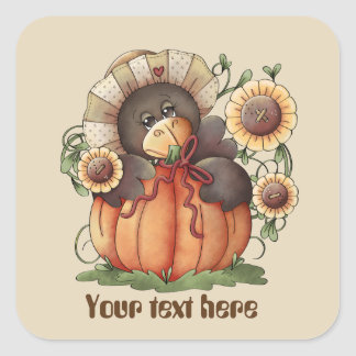 Cute Seasonal Fall scarecrow customizable sticker