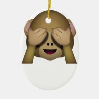 Cute See No Evil Monkey Emoji Christmas Ornament