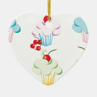 Cute set of cupcakes ceramic heart decoration