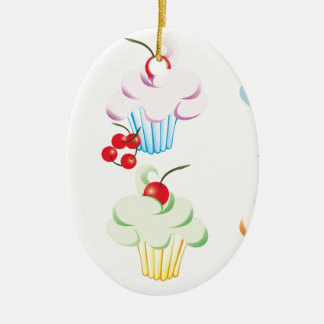 Cute set of cupcakes ceramic oval decoration