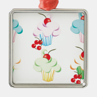 Cute set of cupcakes christmas ornament