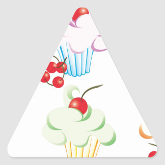 Cute set of cupcakes triangle sticker