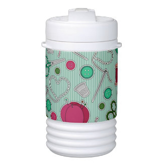 Cute Sewing Pattern Green and Purple Drinks Cooler