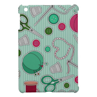 Cute Sewing Pattern Green and Purple iPad Mini Cases
