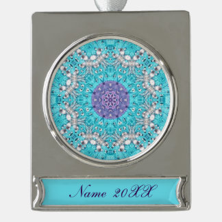 cute shabby chic bohemian pattern purple turquoise silver plated banner ornament