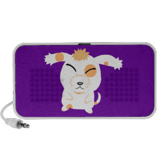 Cute shaggy dog travelling speakers