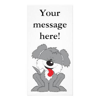 Cute Shaggy Puppy Cartoon Customised Photo Card
