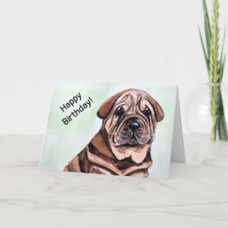 Cute Shar Pei Dog Happy Birthday